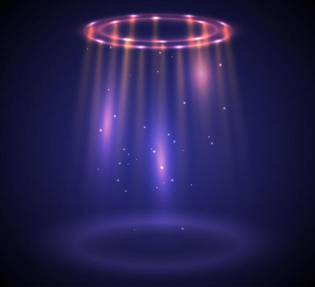 스파크와 둥근 광선 광선 밤 장면. 빈 조명 효과 연단. 디스코 클럽 댄스 플로어. 안개 속에서 파티 램프를 표시합니다. ufo 빔 스테이지.