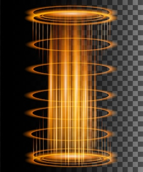 火花のある丸い輝きの光線魔法のファンタジーポータル未来のテレポート