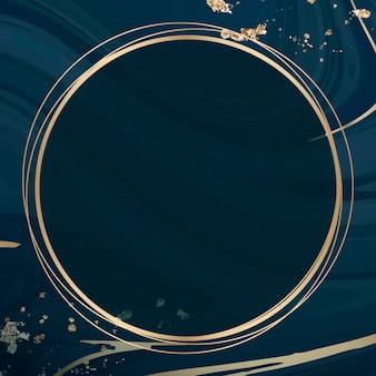 Round gold frame on blue fluid patterned background
