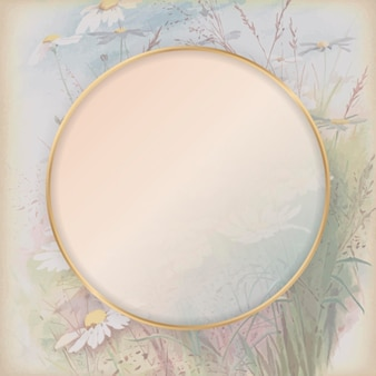 Round gold frame on daisy patterned background template