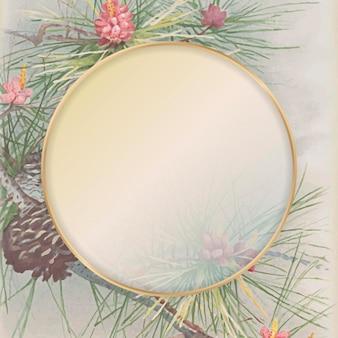 松と針葉樹の円錐形の背景に丸いゴールドフレーム