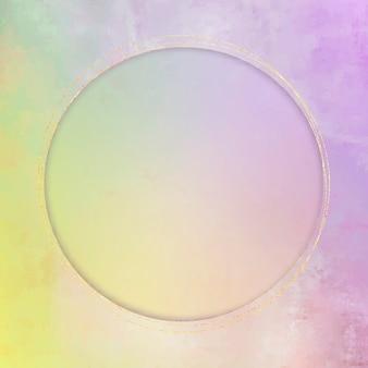 Круглая золотая рамка на фиолетовом фоне