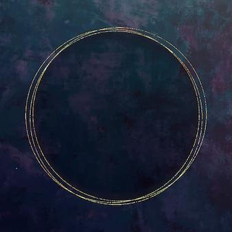 Round gold frame on purple background