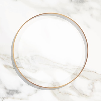 Round gold frame on white marble background vector