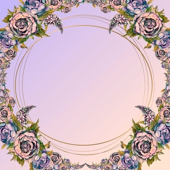 Round gold frame with a bouquet of watercolor flowers