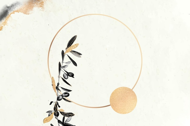 Round gold frame with olive branches vector