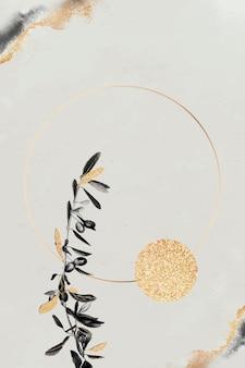 オリーブの枝と丸いゴールドフレーム