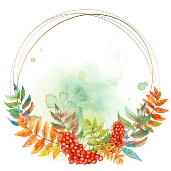 Round gold frame with a sprig of rowan. watercolor.