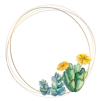 Round gold frame with succulents and cacti