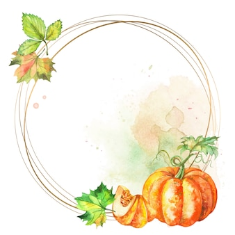 Round gold frame with watercolor pumpkin and leaves.