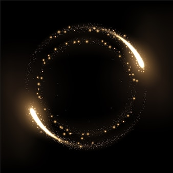 Round gold glow rings with sparks