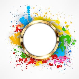 Round gold ring on colorful splashes background