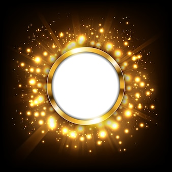 Round gold sign with text space on gold big bang concept