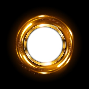 Round gold sign with text space on spinning gold light
