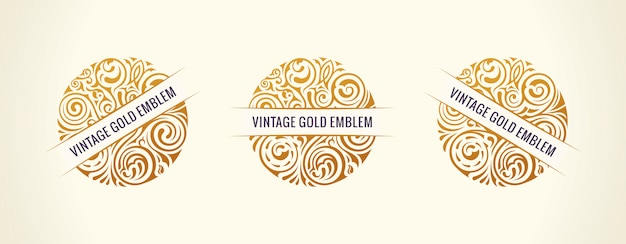Round golden emblems