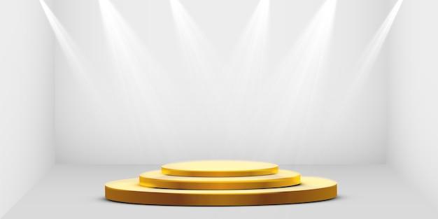 둥근 황금 연단, 받침대 또는 흰색 배경에 스포트 라이트로 조명되는 플랫폼. 디자인을위한 플랫폼. 현실적인 3d 빈 연단. 아름다운 조명이있는 무대.