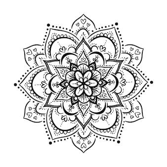 격리 된 흰색 배경에 라운드 그라데이션 만다라입니다. 흑백 색상의 벡터 boho 만다라입니다. 꽃무늬가 있는 만다라. 요가 템플릿