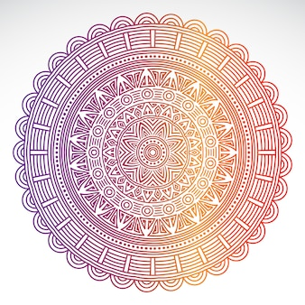 Round gradient mandala on white isolated background