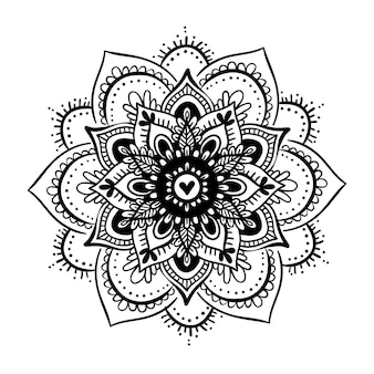 Round gradient mandala on white isolated background. vector boho mandala in black and white colors. mandala with floral patterns. yoga template