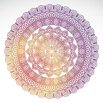 Round gradient mandala on white isolated background