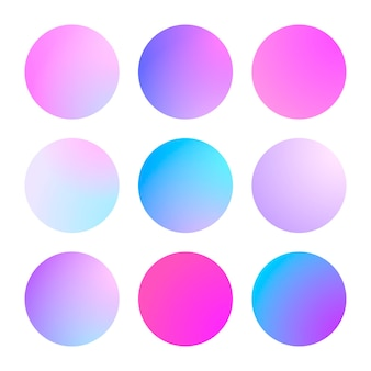 Round gradient set with modern abstract