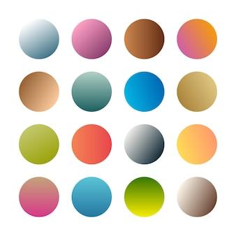丸いグラデーションの球。 16のトレンディな色とりどりのグラデーションのセット。ベクトルイラスト
