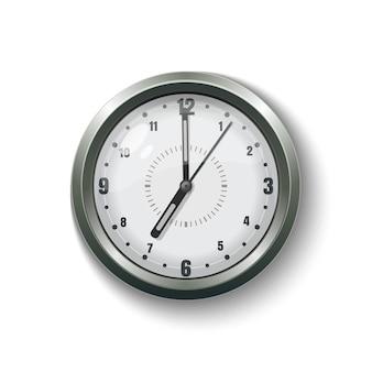 家およびオフィスのための丸い灰色の壁掛け時計。白い背景で隔離の図 Premiumベクター
