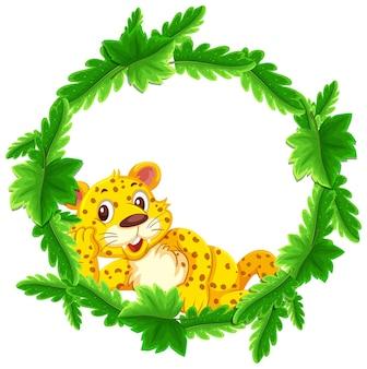 ヒョウの漫画のキャラクターと丸い緑の葉バナーテンプレート
