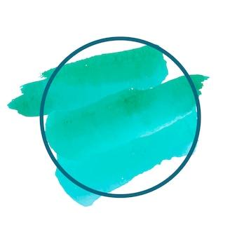 Круглый зеленый баннер вектор акварель