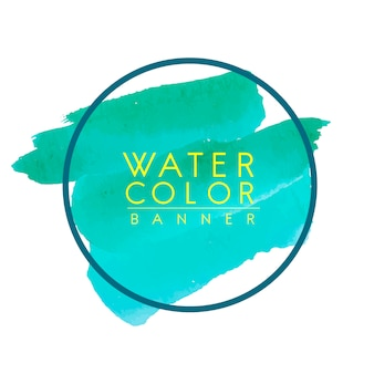 Round green watercolor banner vector