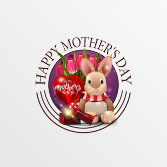 Round greeting banner for mother's day with plush rabbit, tulips and gift
