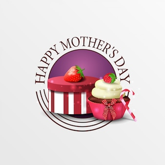 Round greeting banner for mother's day