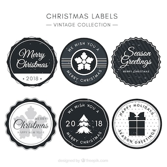 Round grey christmas badges in vintage style