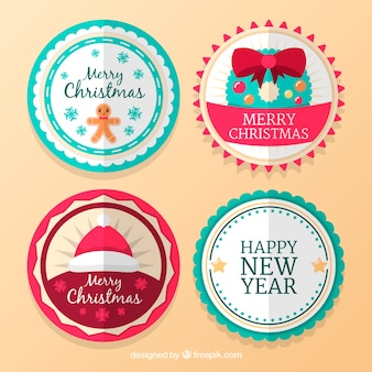 Round hand drawn christmas stickers