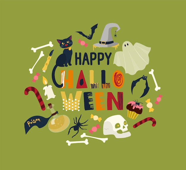 Round holiday composition with happy halloween wish surrounded by magic items and spooky characters - black cat, skull, bones, ghost, witch hat