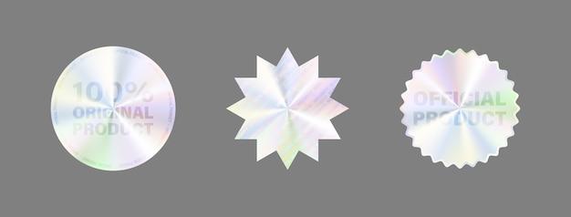 白で隔離ラウンドホログラムラベルセット。賞のデザイン、製品保証、ステッカーデザインの幾何学的なホログラフィックラベル。ホログラムステッカーコレクション。品質のホログラフィックステッカーセット。