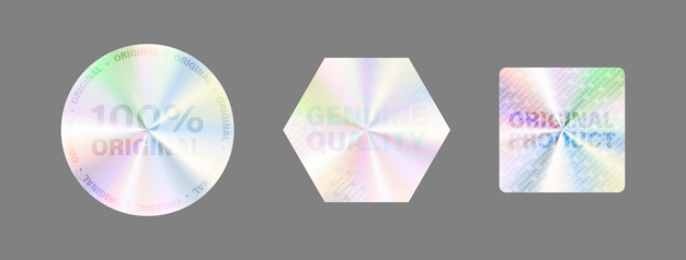 Round hologram label set  on white. geometric holographic label for award , product guarantee, sticker design.  hologram sticker collection. quality holographic sticker set.
