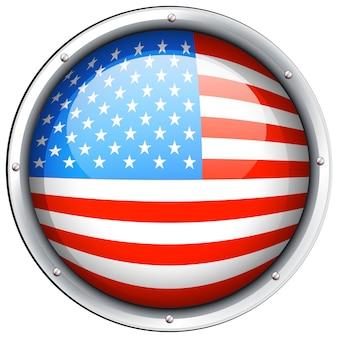 Круглый значок флага америки