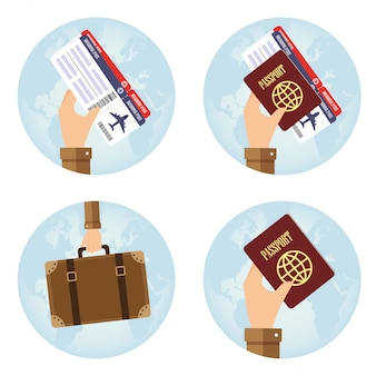 Round icons with hand holding elements for travel