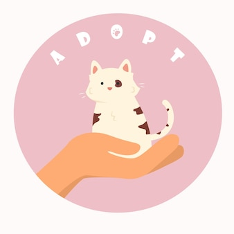 Round illustration for motivation to adopt a pet instead of buying. flat drawing of human hand with a cute cat and writing.