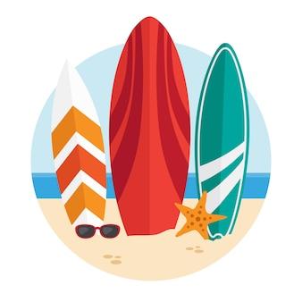 Круглая иллюстрация с досками для серфинга на пляже