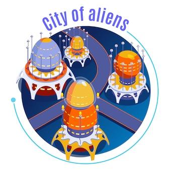 Круглый изометрический состав инопланетян с описанием города инопланетян и иллюстрацией различных странных необычных зданий