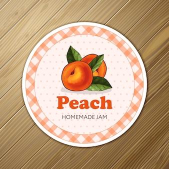 Round jam label for a jar of peach confiture, jam or marmalade.