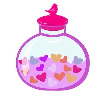 バレンタインデーのためのハートのロマンチックなイラストとハートのボトルと蓋付きの丸い瓶