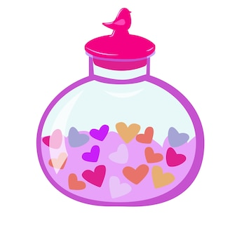 Round jar with a lid with hearts bottle with hearts romantic illustration for valentines day