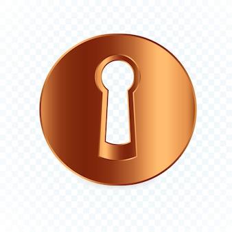 Round keyhole. flat bronze lock  illustration