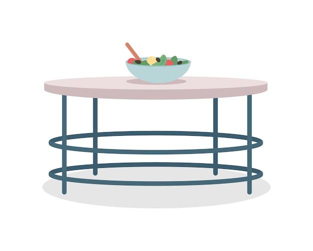 라운드 주방 테이블 세미 플랫 컬러 벡터 개체입니다. 현대 가정 가구입니다. 흰색에 현실적인 항목입니다. 그래픽 디자인 및 애니메이션을 위한 가구 격리된 현대 만화 스타일 그림
