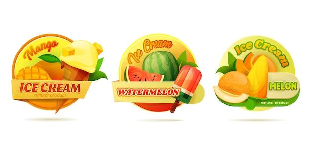 Round label set for ice cream or ice pops