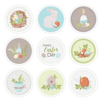 Коллекция круглых этикеток с пасхальными предметами. шаблоны этикеток для печати.