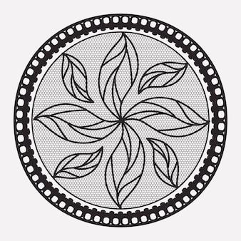 モノクロのシルエットのラウンドレースの花のナプキン